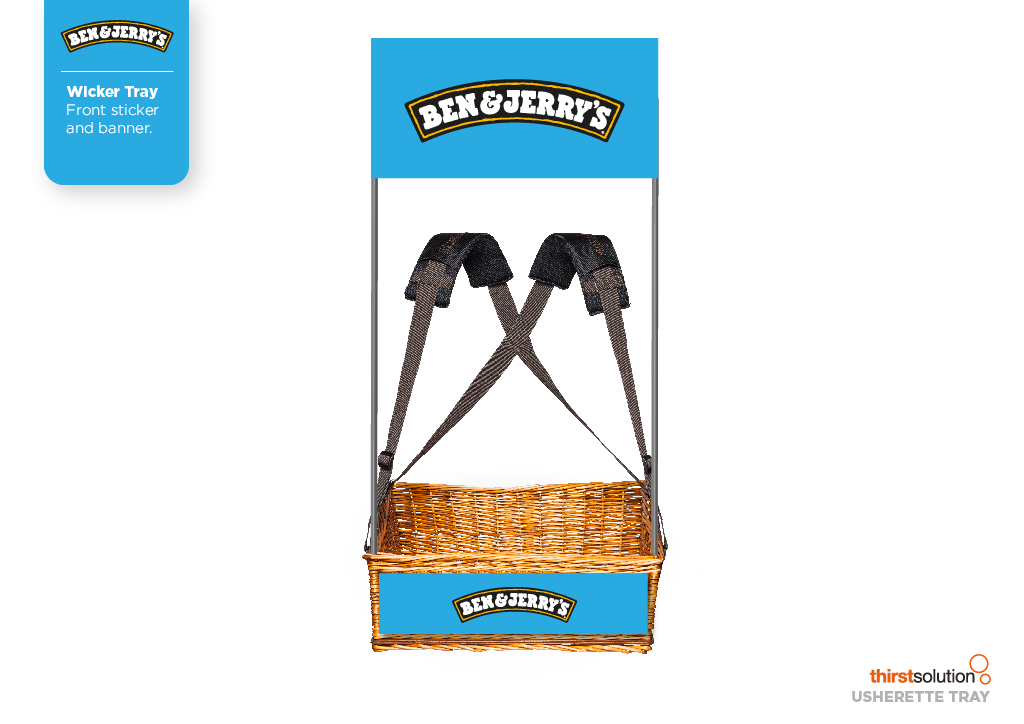 Ben and Jerry's Wicker Concession Tray with strap and branding by Usherette Trays