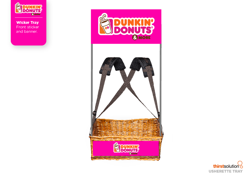 Dunkin Donuts wicker mobile vendor tray with strap by Usherette Trays