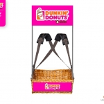 Dunkin Donuts Wicker Concession Tray with strap and branding by Usherette Trays