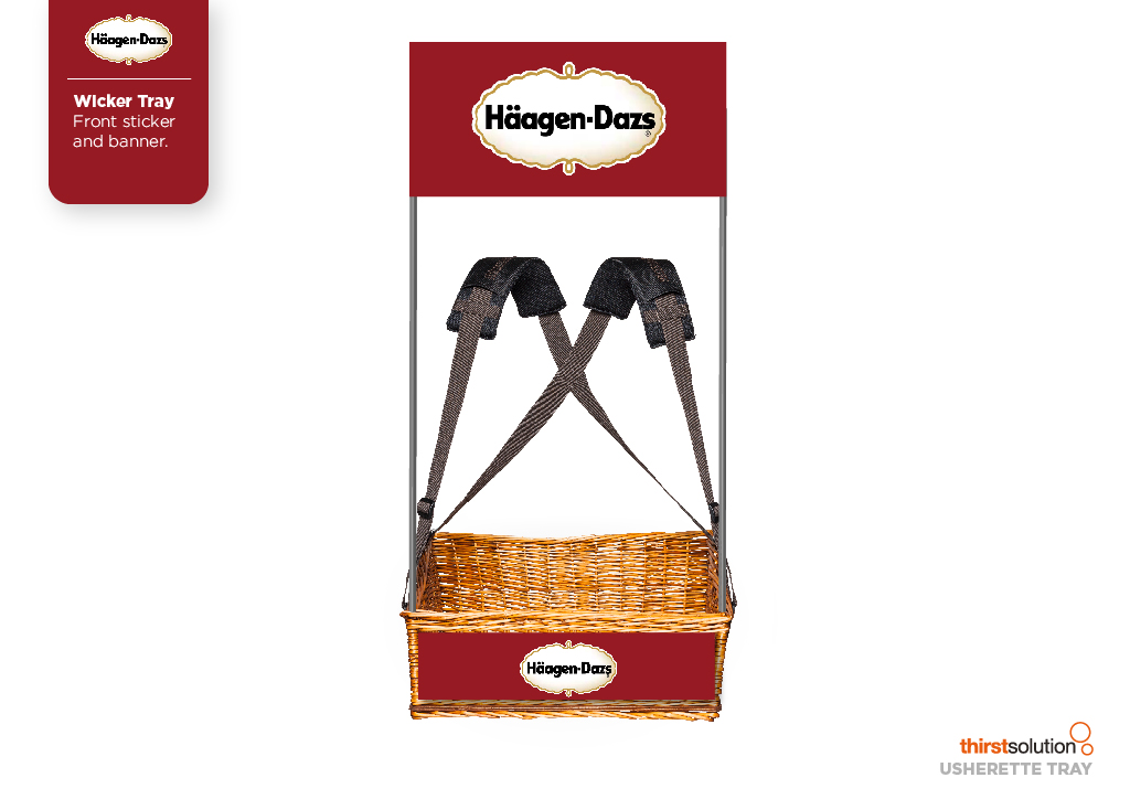 Haagen-Dazs Wicker Concession Tray with strap and branding by Usherette Trays