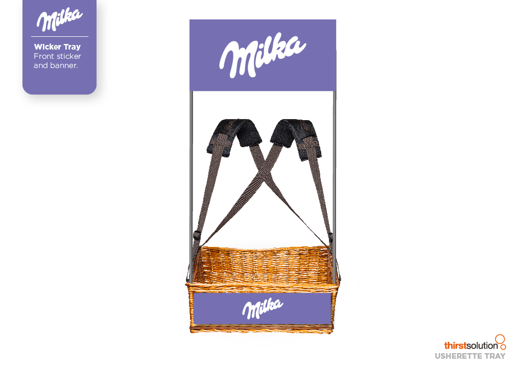 Milka Wicker Concession Tray with strap and branding by Usherette Trays