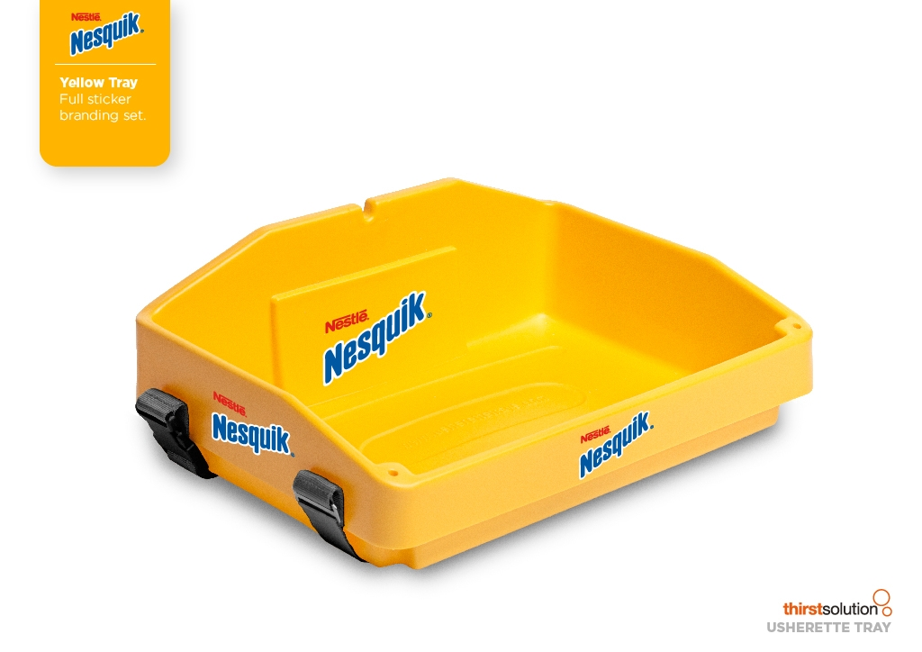 yellow usherette tray fully branded by Usherette Trays