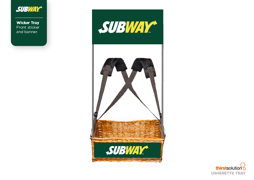 Subway wicker mobile vendor tray with strap by Usherette Trays