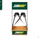 Subway Wicker Mobile Concession Tray with strap and branding by Usherette Trays