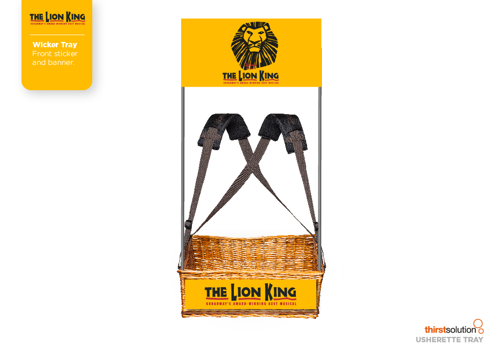 The Lion King Wicker Concession Tray with strap and branding by Usherette Trays