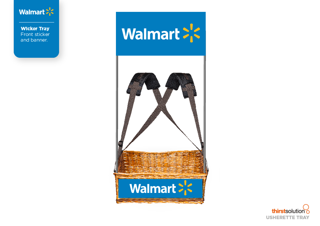 Walmart wicker mobile vendor tray with strap by Usherette Trays