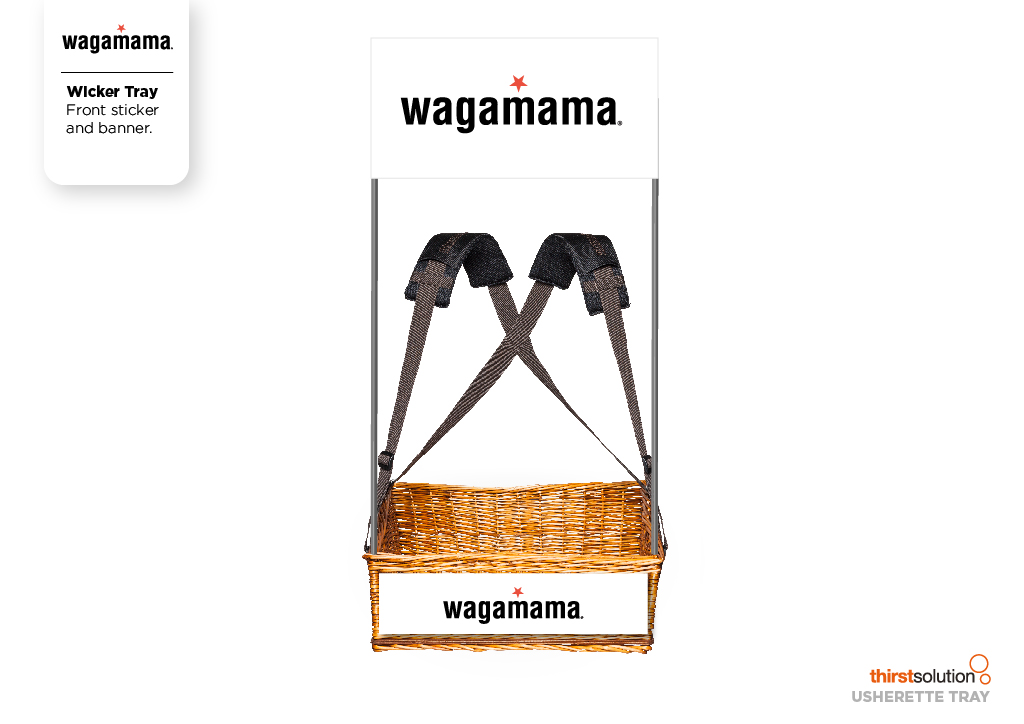 wagamama wicker mobile vendor tray with strap by Usherette Trays