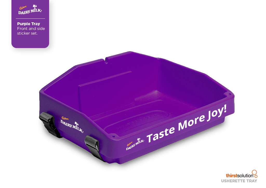 purple usherette tray with branding for Cadbury by Usherette Trays