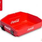 red usherette tray with strap for coca cola by Usherette Trays