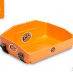 bright orange usherette tray by Usherette Trays