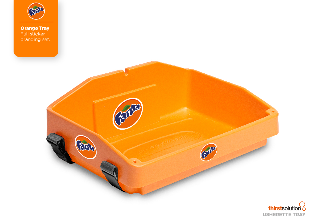 bright orange usherette tray by Usherette Trays
