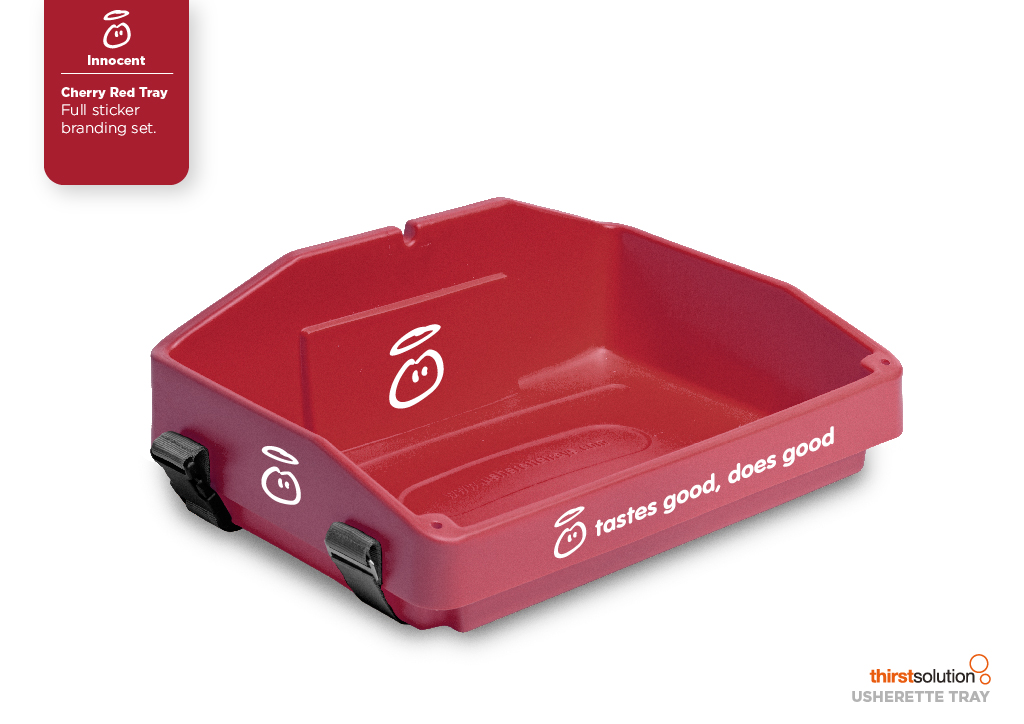 cherry red usherette tray with strap by Usherette Trays