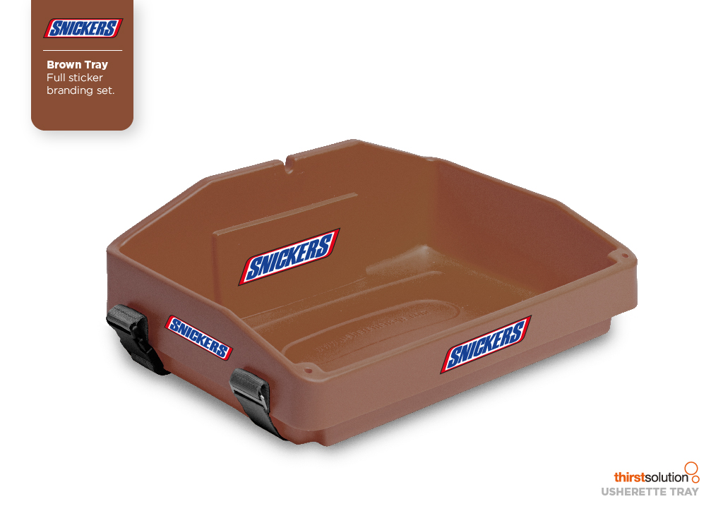 brown usherette tray with strap and branding by Usherette Tray