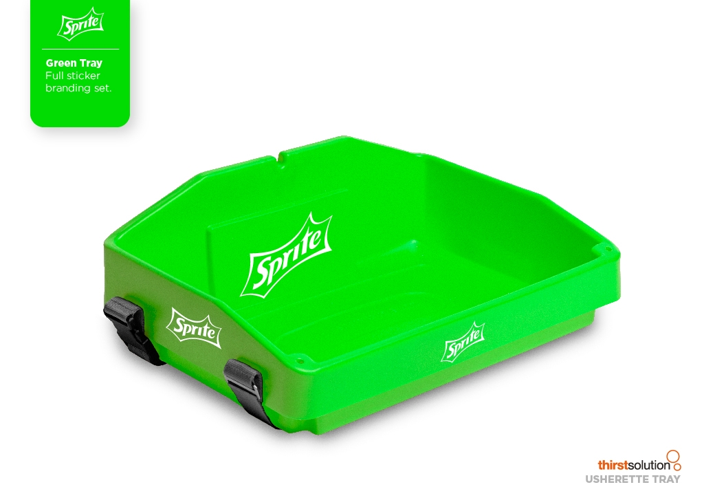 Green usherette tray with strap by Usherette Trays