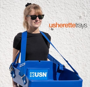 usherette tray blue plastic with straps